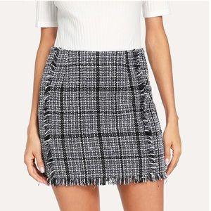 Dresses & Skirts - SALE! Tweed Plaid Mini Skirt with a Distressed Hem